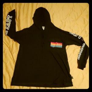 T-shirt hoodie Victoria's secret pink, black rainb